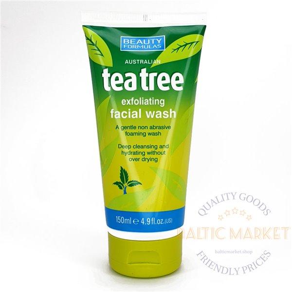 BEAUTY FORMULAS Austrālijas tējas koka pīlinga sejas tīrīšanas līdzeklis 150ml
