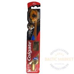 Colgate 360 auksinis anglies dantų šepetėlis minkštas 1 vnt.