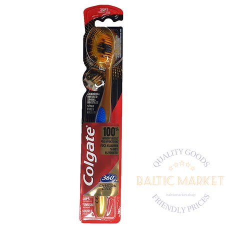 Colgate 360 charcoal gold toothbrush soft 1pcs