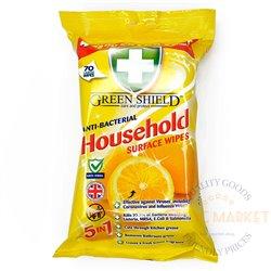 "Green Shield Household ""5 in 1"" 'Lemon' Antibakteriālas salvetes virsmas tīrīšanai   - 70 gab"