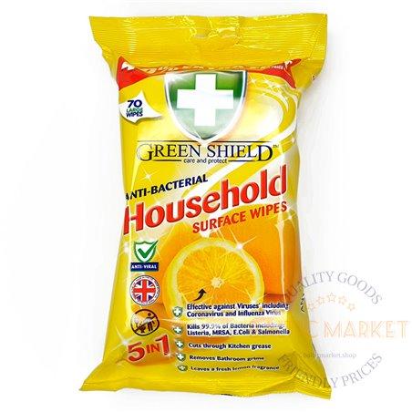 """Green Shield Household """"5 in 1"""" 'Lemon' Antibakterinės servetėlės paviršių valymui - 70 vnt."""