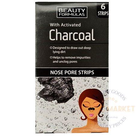 Beauty Formulas Charcoal Пластыри для носа 6 шт.