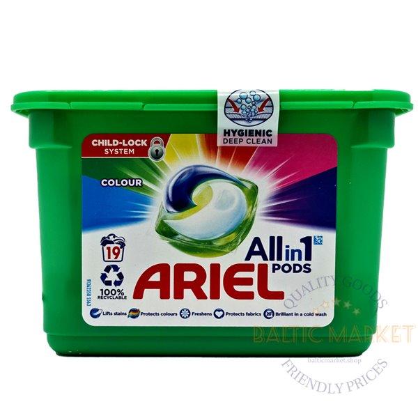 Ariel veļas mazgāšanas tabletes krāsainai veļai 19 gab.