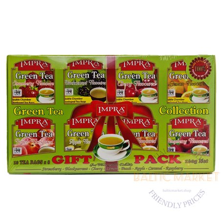 """Чай Импра зеленый ассорти """"ПОДАРОЧНАЯ УПАКОВКА"""" 8 сортов, чайные пакетики 10 * 2г."""