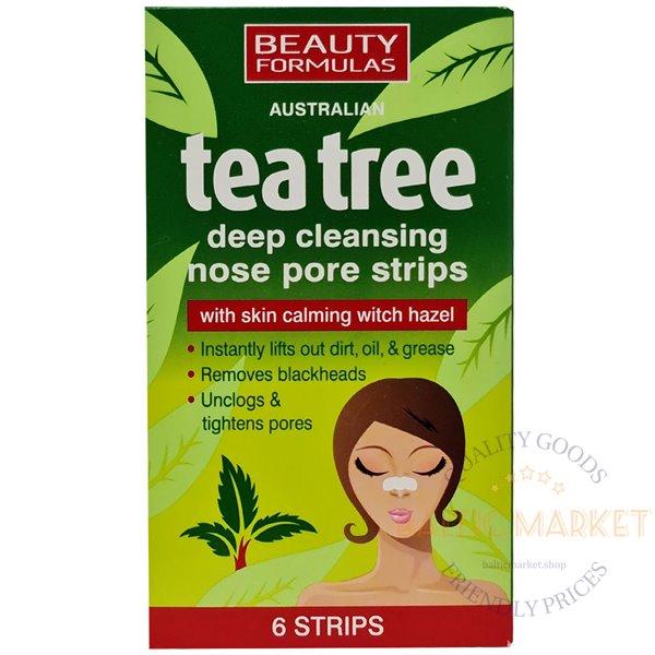 Beauty Formulas Tea Tree патчи для очищения пор носа 6 шт.