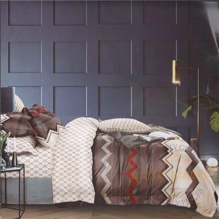 Puuvillasatiinist voodipesukompleks 200x220, 4 osa (CT142)