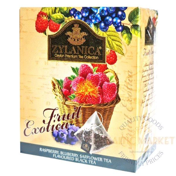 Zylanica черный чай с ароматом малины, черники и сафлора, 2 г x 20 пакетиков