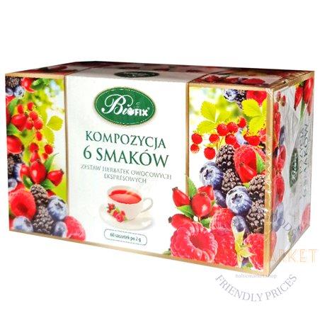 Фруктовый чай Bifix 6 вкусов, 2 г x 60 пакетиков