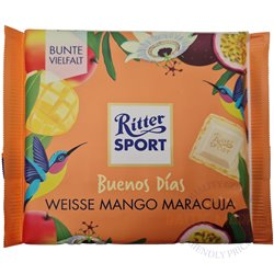 Ritter Sport baltas šokoladas su mango ir pasiflorų skoniu 100 gr.