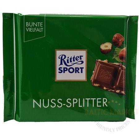 Ritter Sport pieno šokoladas su kapotais lazdyno riešutais 100 gr.